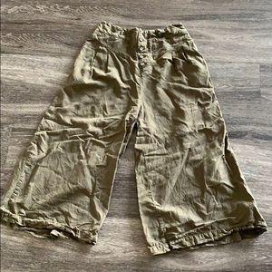 Anthropologie Cropped Wide Leg Green Pants Medium
